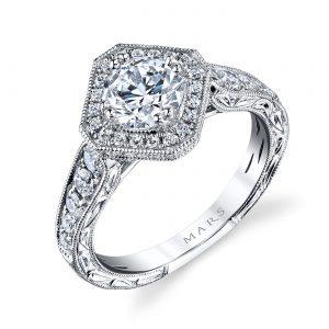 Halo, Vintage Engagement RingStyle #: MARS 26100