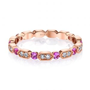 Diamond & Saphire Ring - Stackable  Style #: MARS-26182RGPS