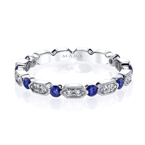 Diamond & Saphire Ring - Stackable  Style #: MARS-26182WGBS