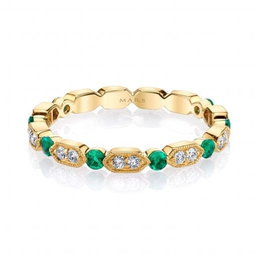Diamond & Emerald Ring - Stackable <br> Style #: MARS-26182YGEM