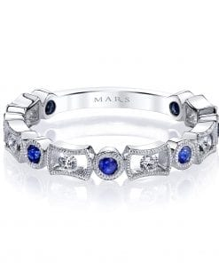 Diamond & Saphire Ring - Stackable  Style #: MARS-26211WGBS