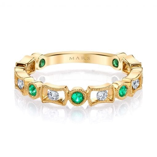 Diamond & Emerald Ring - Stackable <br> Style #: MARS-26211YGEM
