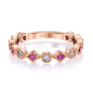 Diamond & Saphire Ring - Stackable  Style #: MARS-26213RGPS