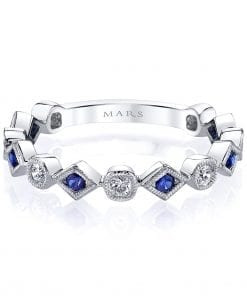 Diamond & Saphire Ring - Stackable  Style #: MARS-26213WGBS