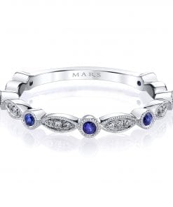 Diamond & Saphire Ring - Stackable  Style #: MARS-26935WGBS