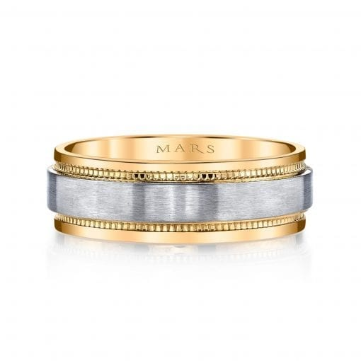 Mixed Metal Men's Wedding Band<br>Style #: MARS G133