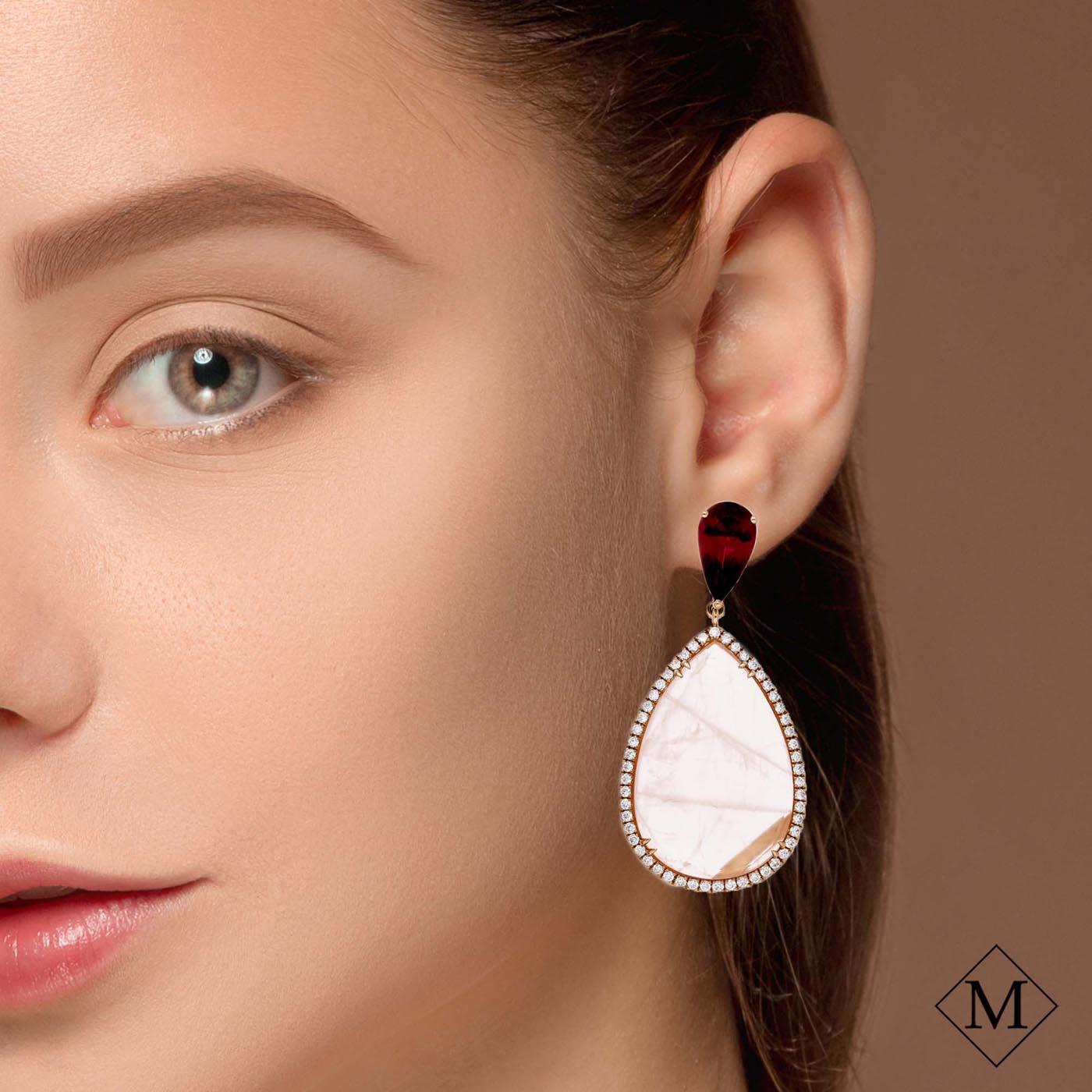 Unique Rose Quartz EarringsStyle #: PD-S375E
