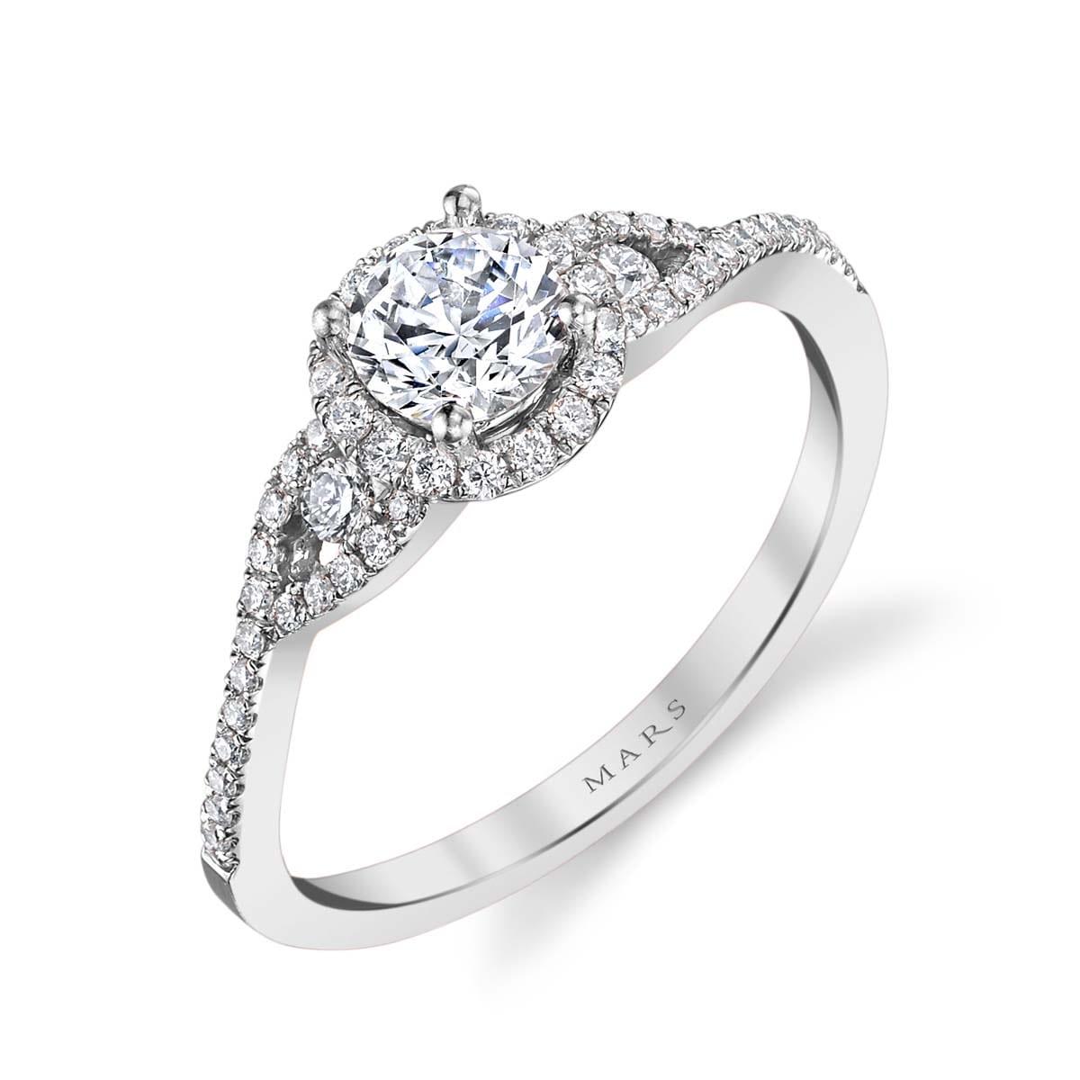 Halo Three-Stone Engagement Rings: MARKS-25386-PL