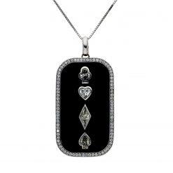 Round Diamond and Fancy Diamond NecklaceStyle #: POKER-DOG