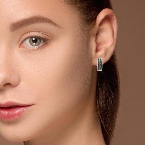Hoops Black Diamond EarringsStyle #: PD-LQ7507E
