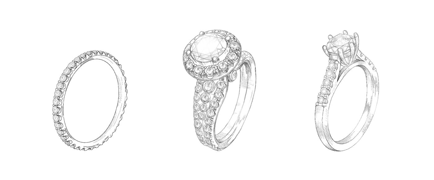 drawings of vintage style engagement rings on a white background